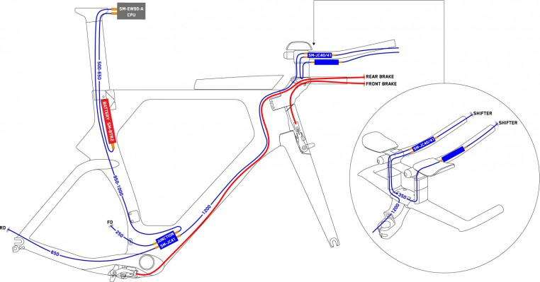 Wiring diagram: the Di2 cable routing inside the handlebar is particularly difficult (the electric wires of the Shimano Di2 TT Brake Levers are missing in this image).
