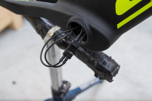 Plug the wire into the junction inside the bottom bracket.