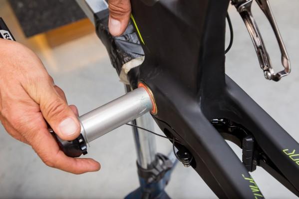 Install the Rotor 3D+ crankset.