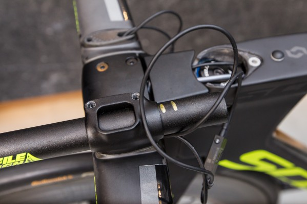 ... and cut them on the front or rear. Note: Do not notch the Di2 openings on the underside of the extensions.
