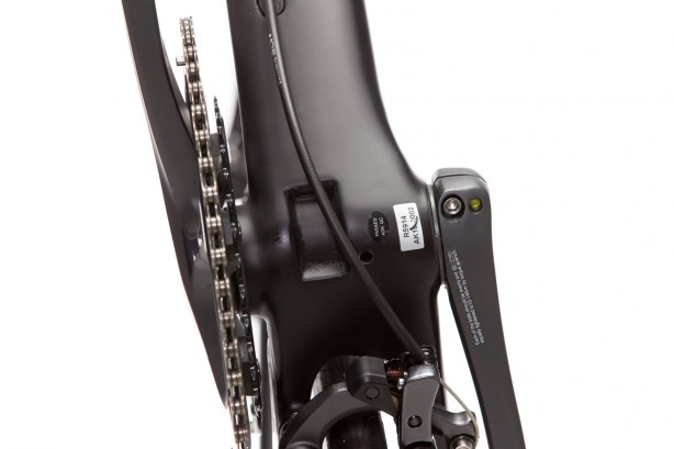 … but also in the back. For better force absorption, thinner seat stays and advanced aerodynamics the brake was reallocated below the chain stays.